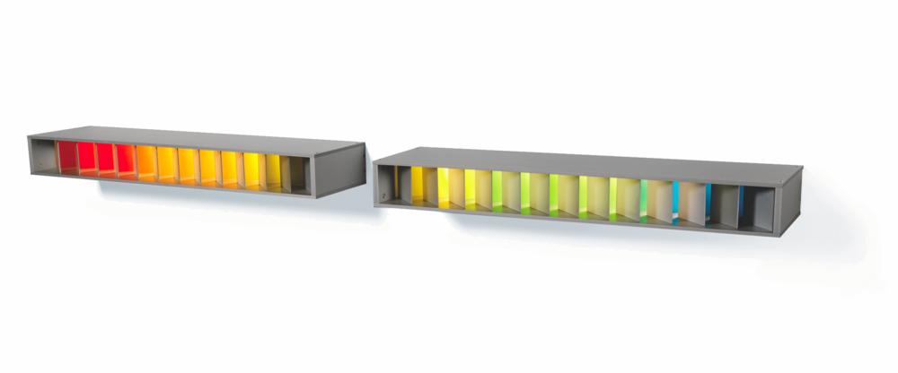 Spectrum 1 & 2| 2012 | Anodised Aluminium | 1450mm L x 92mm H x 180mm D | Image: Grant Hancock