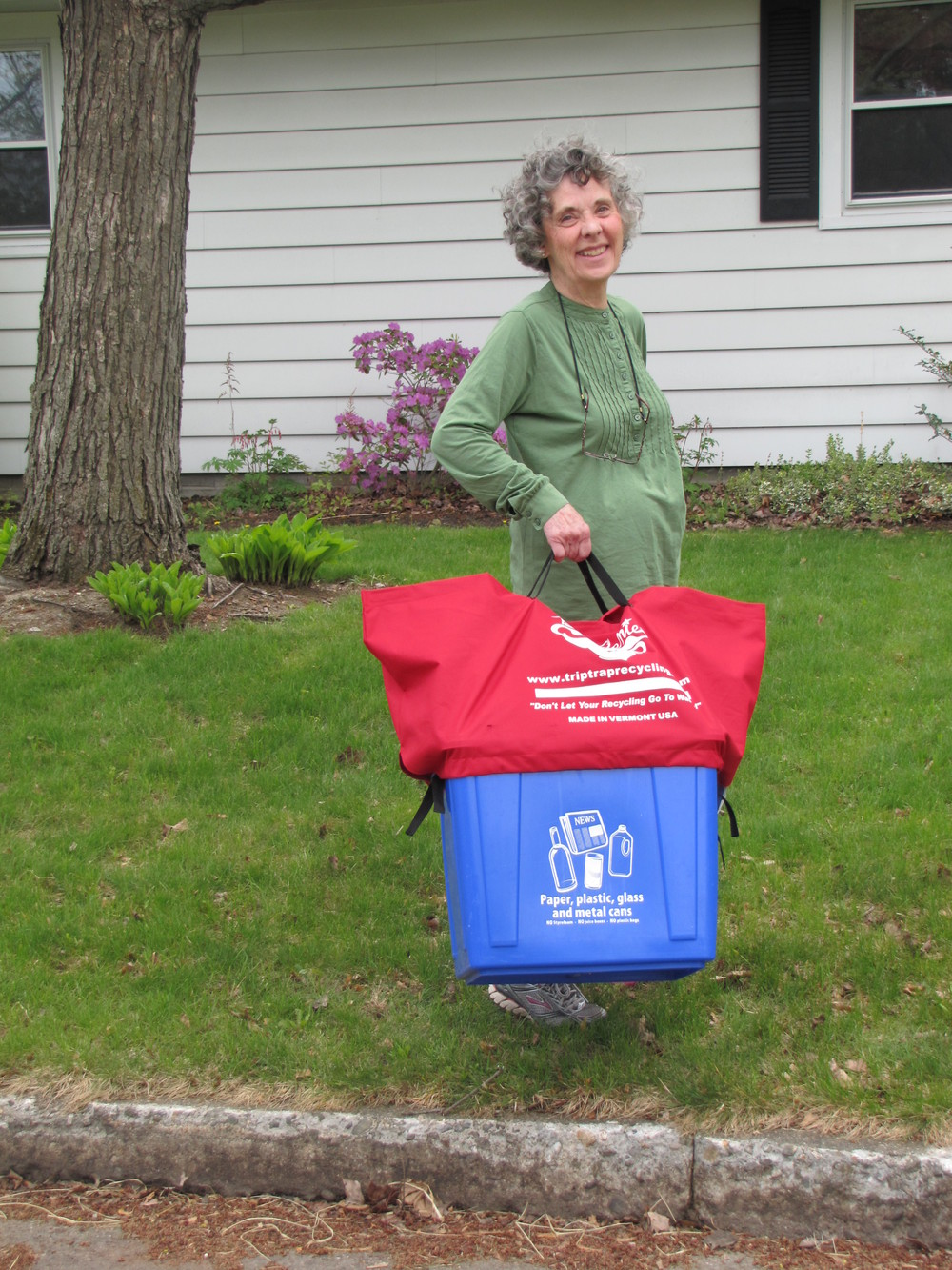 """I love the handles.  It makes it so easy to get my bin to the curb!"" - susan, burlington, Vermont"