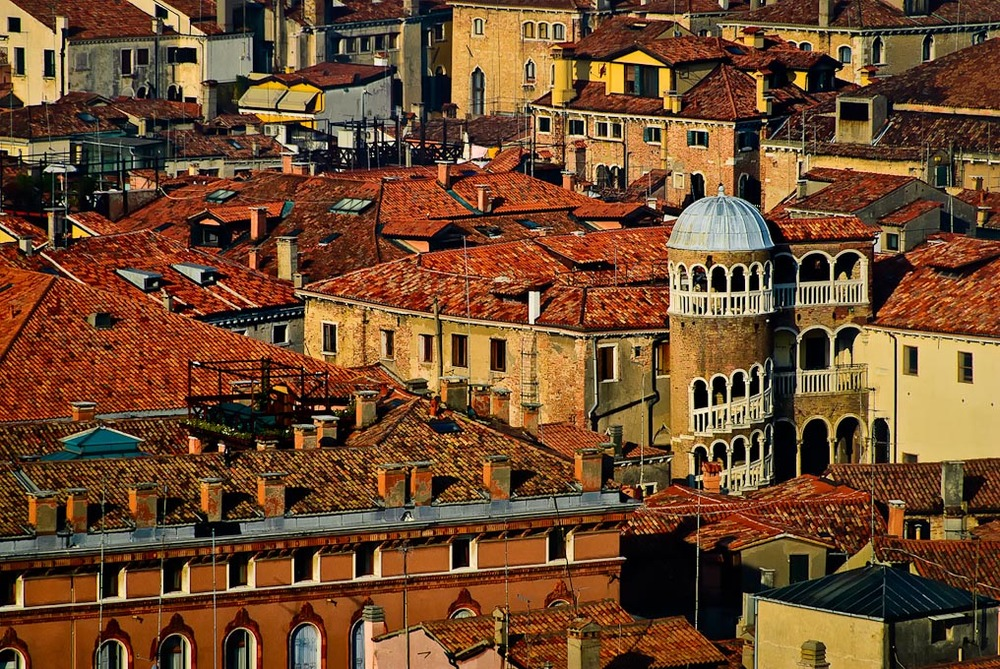 Scala   Contarini del Bovolo seen from Campanile di San Marco, Venice, Italy