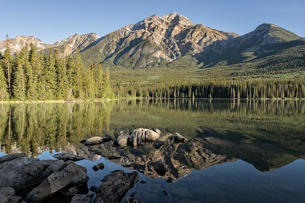 Pyramid Island and Mountain, Jasper National Park, Alberta