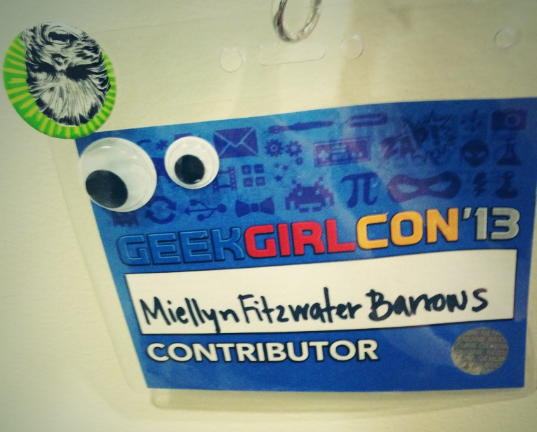 My badge got Vandal-eyes'd courtesy of Bonnie Burton.