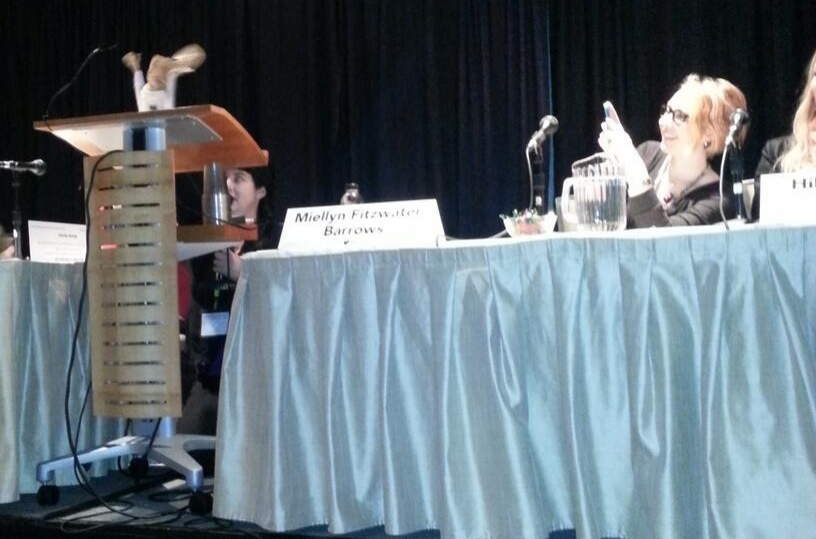 Bonnie, moderating our freelance panel with her puppet, Admiral Sackbar, and me pointing at... the ceiling?
