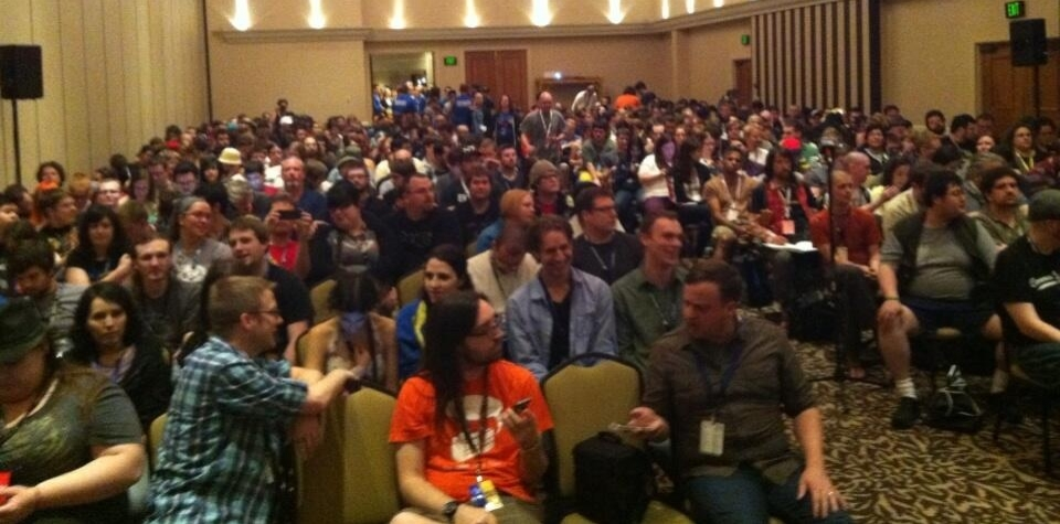 The audience for the Romance in Games panel.