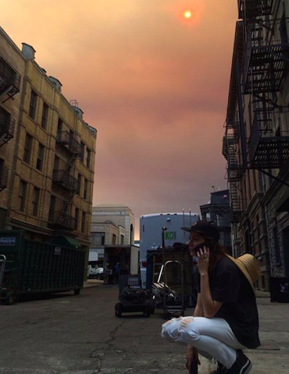 Smokey wildfire sunset on set @ Paramount Lot, Los Angeles July 2016