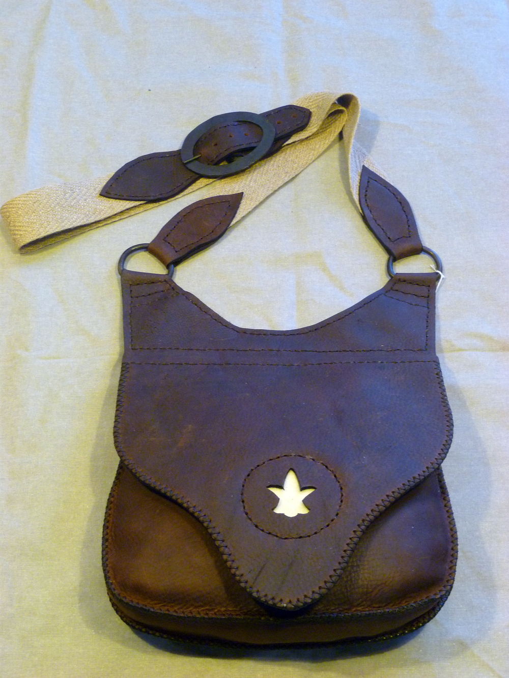 "Large Haversack Shooting Bag with Beavertail flap and design:  Four inside pockets and a knife sheath  Size: 12"" x 12"" x 3""  Price: $125.00  Inventory Tag: GB-4-DBSF"