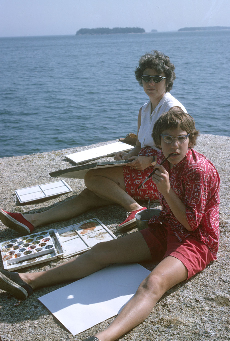 Anne with her mother, Mary Mavor, painting together in Maine.