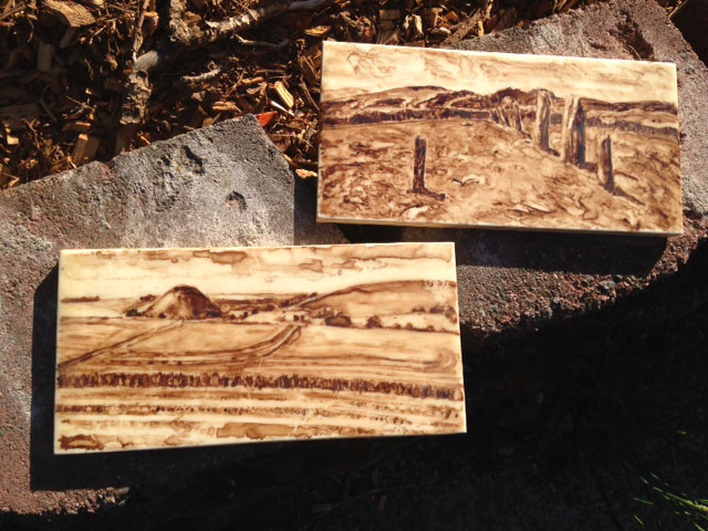 Two miniature paintings in the sun. Walnut ink on encaustic medium.