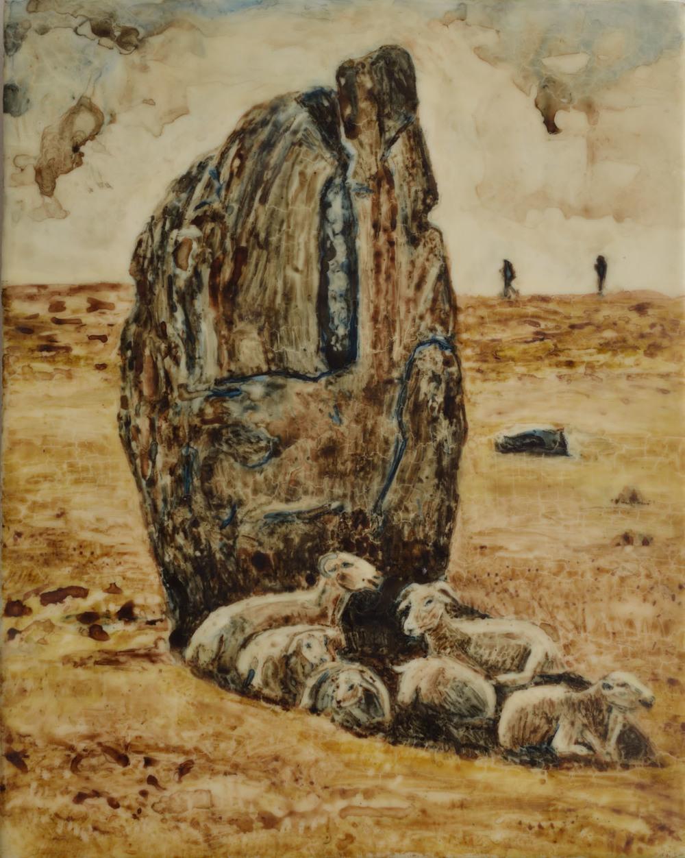 Avebury Stone with 6 Sheep