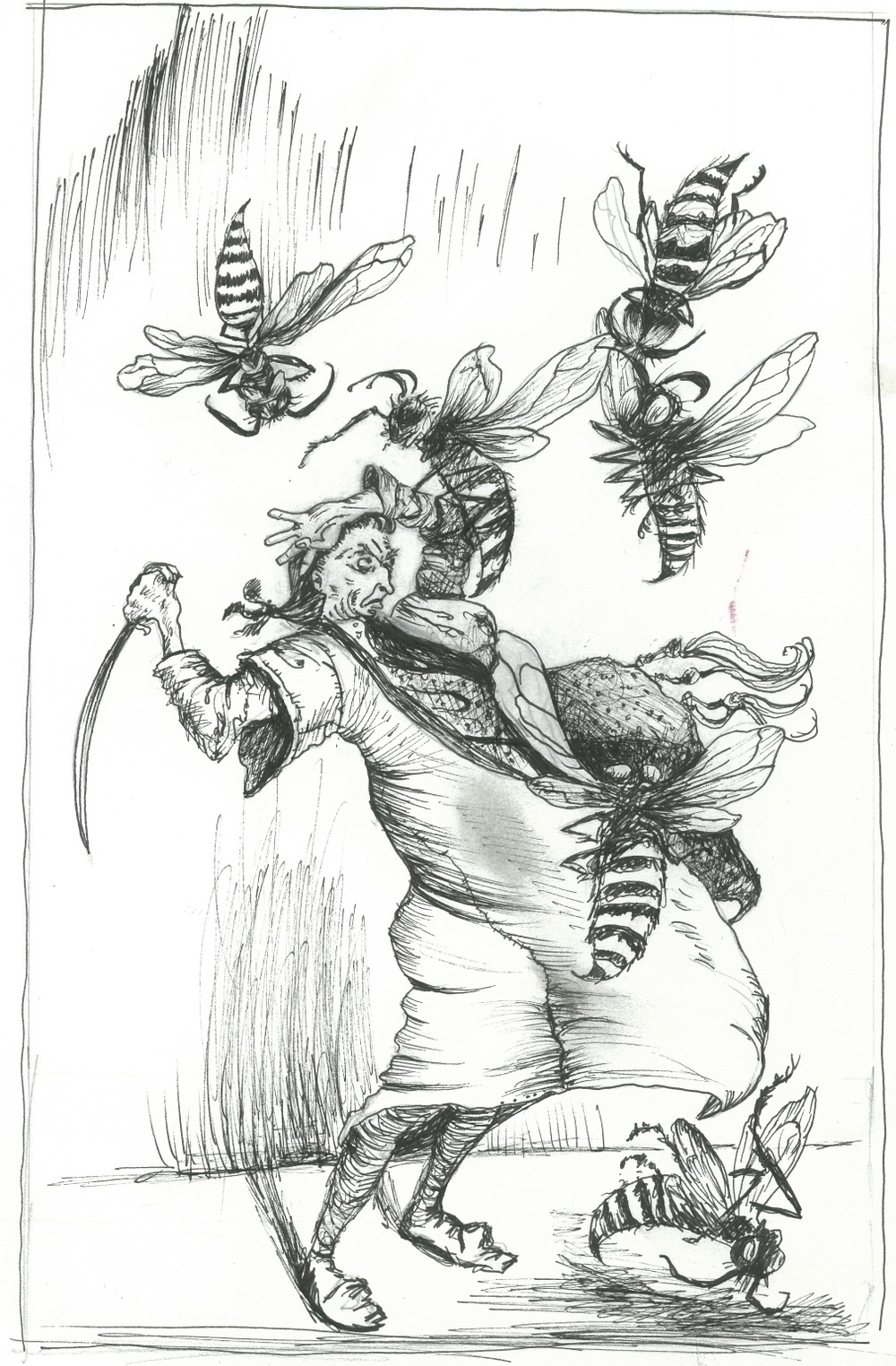 As a drawing exercise I drew this copy of one of my favorite things: Arthur Rackham's illustration for Gulliver's Travels.