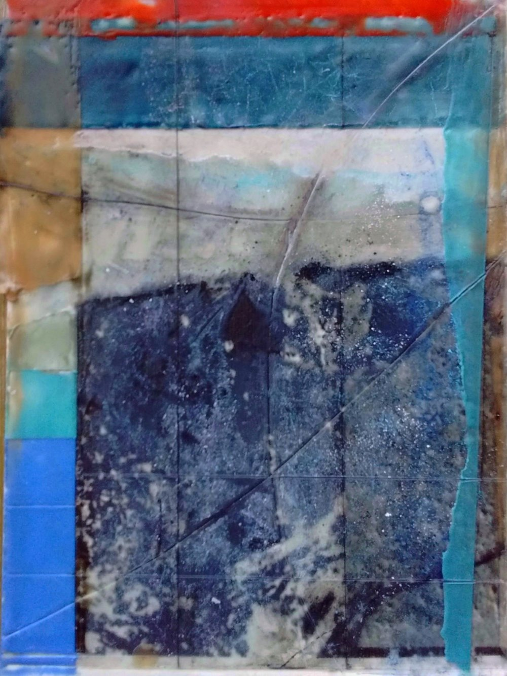 "Microstructure II  Encaustic on Paper, ink jet print, pastel  12"" x 9"""
