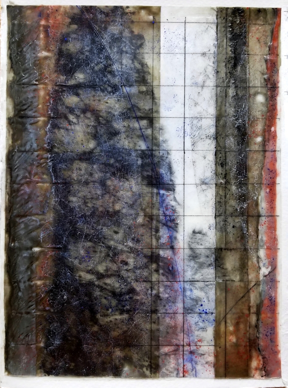 "Microstructure XI  Encaustic on paper, ink jet print, pastel, ink pen  12"" x 9""  private collection"