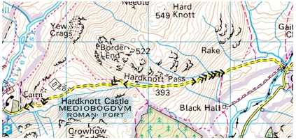 Hardknott pass in the wonderful, glorious English Lake District (Ordnance Survey map)