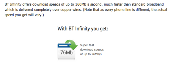 Two different screenshots showing the current confusion from BT about what BT Infinity actually provides. I think it's disingenuous of BT to say that standard broadband is delivered completely over copper wires as this just isn't the case - there's plenty of optical fibres going to the exchanges where older broadband is served from. The increase in quantity of optical fibre for Infinity is marginal.