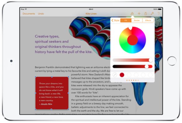 Apple's Pages in iOS on an iPad