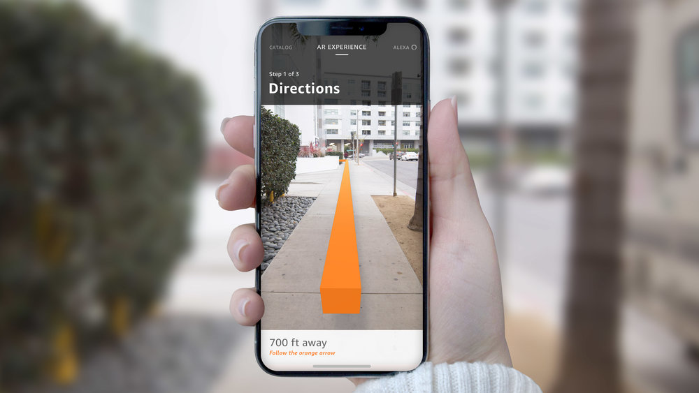 Directions to the building entrance appears in AR view using visual positioning.