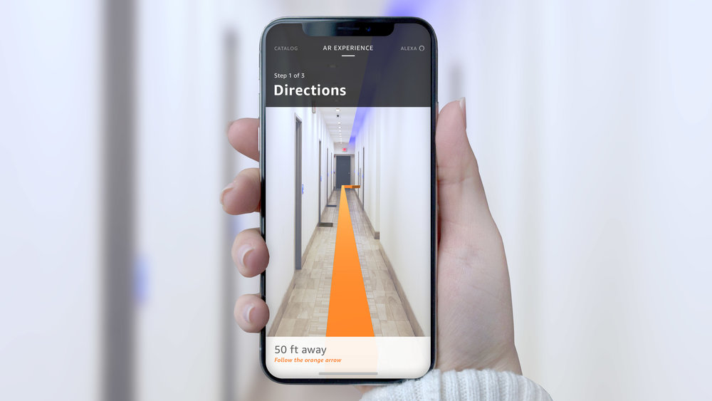 AR directions continue inside the building to the Airbnb unit.