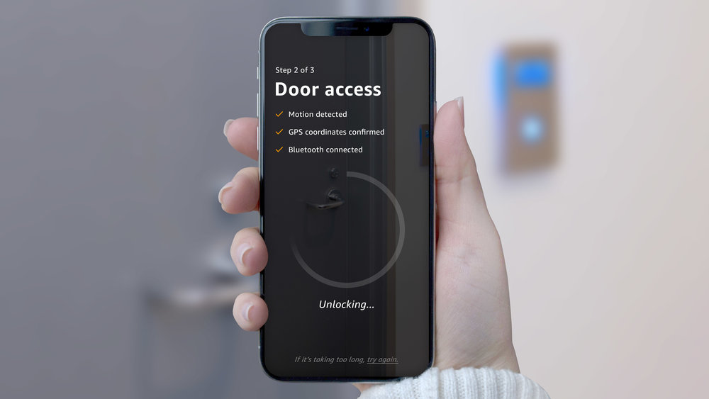 5. Motion detection triggers an authentication process to unlock the door.