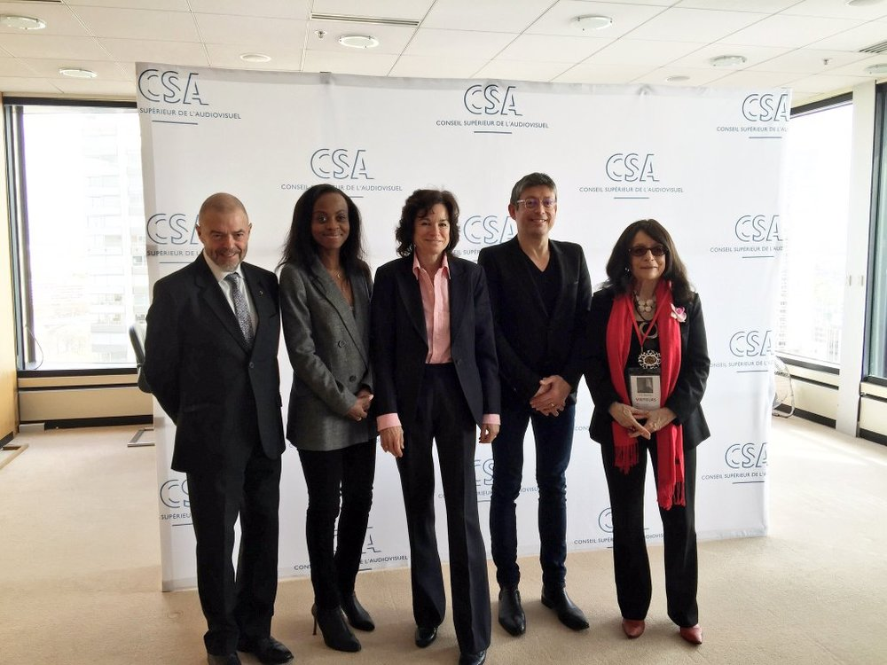 Women Rights Committee of the CSA: Jean-Paul Cluzel, Carole Bienaimé Besse, Sylvie Pierre-Brosolette,, Jacques Sanchez, and Janine Mossuz Lavau