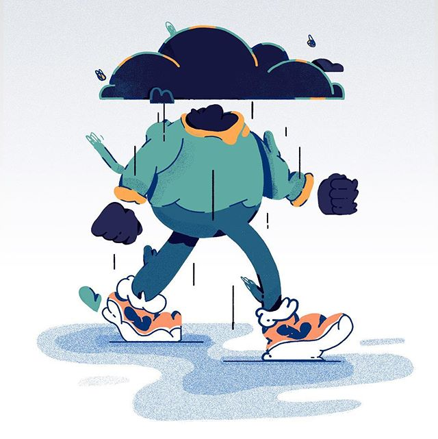 Moving forward even when you're a absolute grump. Learning to use negative/anxious energy and turn it into something positive has been an important lesson for me. Keep on struttin' no matter what. . . . . #illustration #characterdesign #instaart #drawing #grumpy #design #illustrationoftheday #creative #graphics #graphicdesign #itsnicethat #2D #feelings #picame #darkclouds #optimism