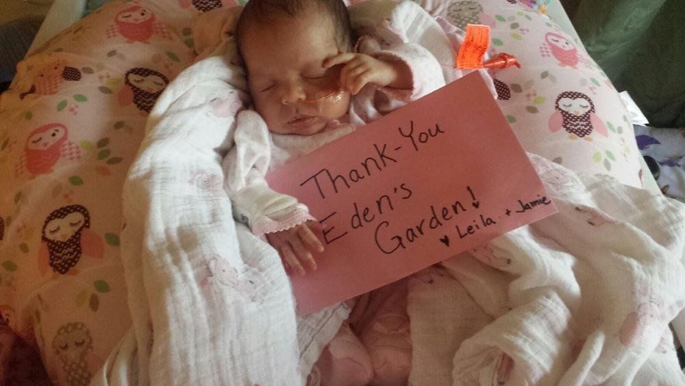 Leila's mom was so excited to receive a Boppy from Eden's Garden that she sent this super cute photo!!!