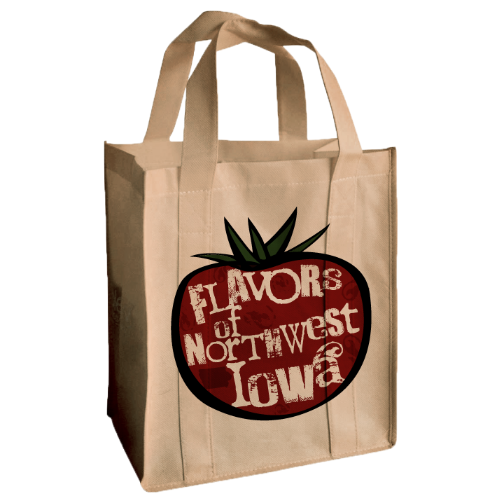 Flavors of Northwest Iowa Logo on a Reusable Bag