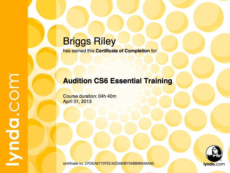 Adobe Audition Training Certificate for Riley Briggs