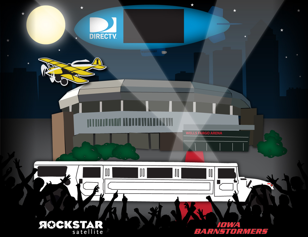 a vector illustration of the ROCKSTAR treatment at Iowa Barnstormer games