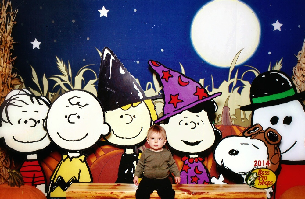 Ryker and the Peanuts gang at Bass Pro Shop in Altoona, Iowa