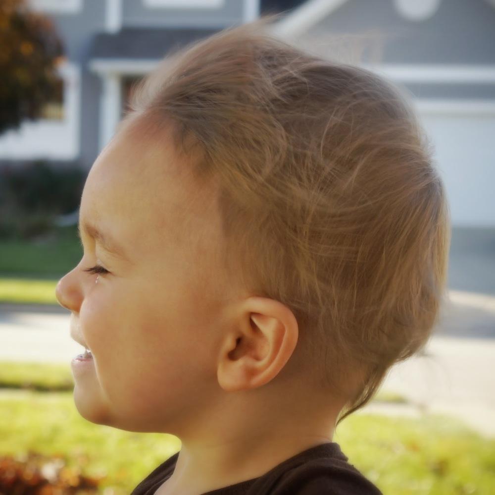 Ryker's hair blowing in the wind
