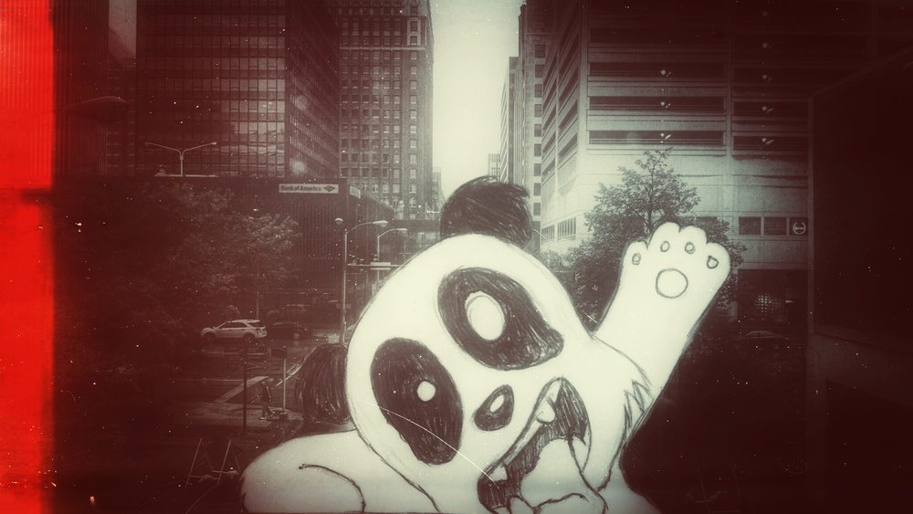 """""""Invaded by a Panda""""Edited in Photoshop Touch and Snapseed"""