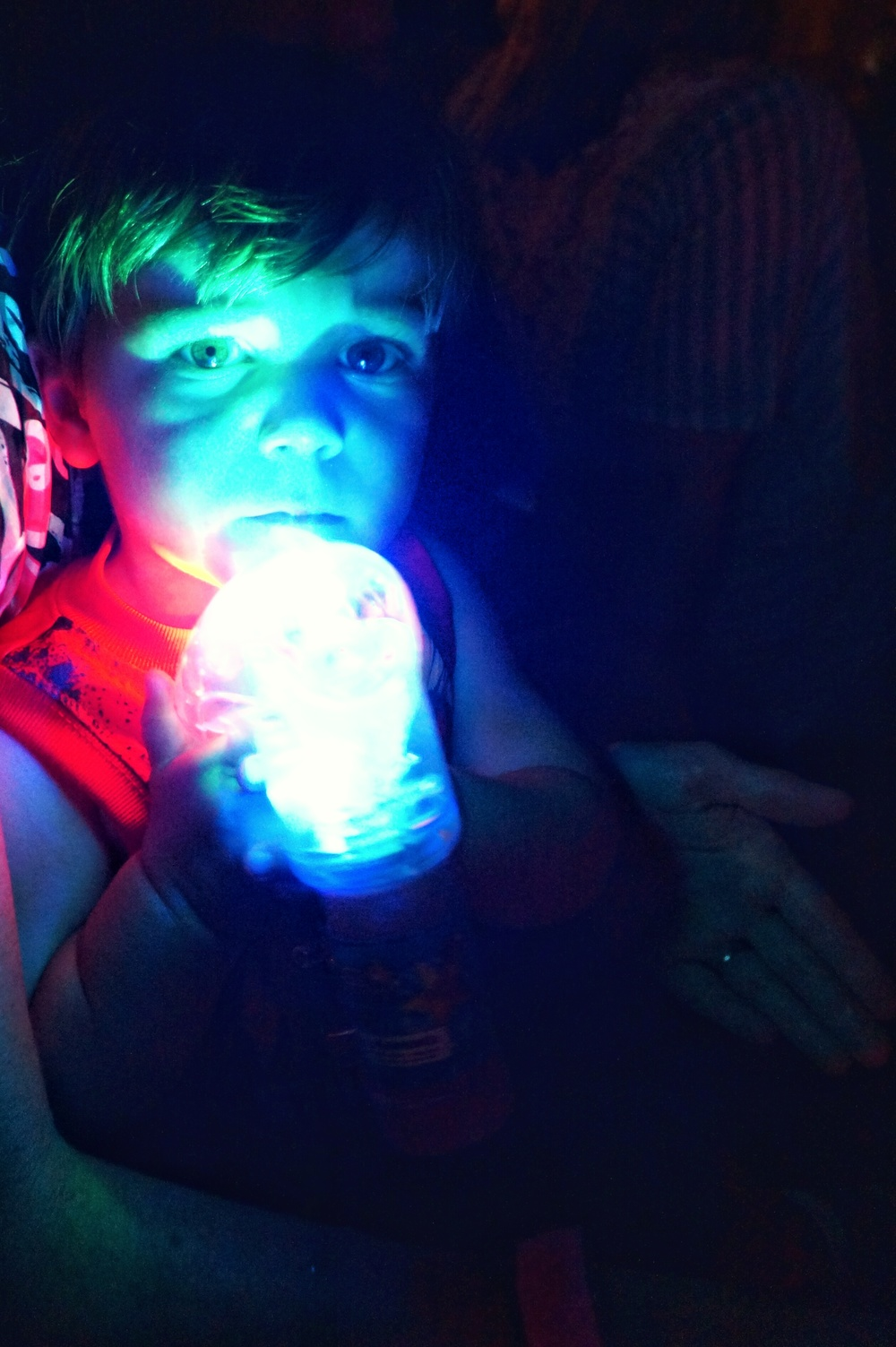 Ryker shooting me with his light up bubble gun