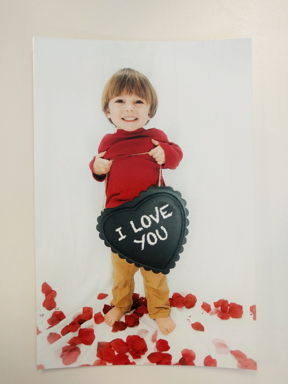 A print of Ryker's 2 1/2 year/Valentines photos
