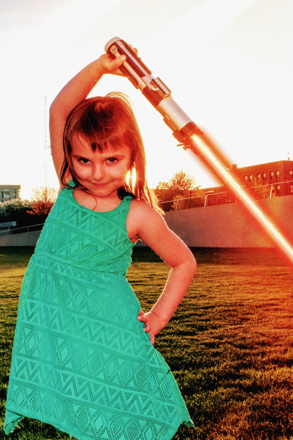 Raina with lightsaber