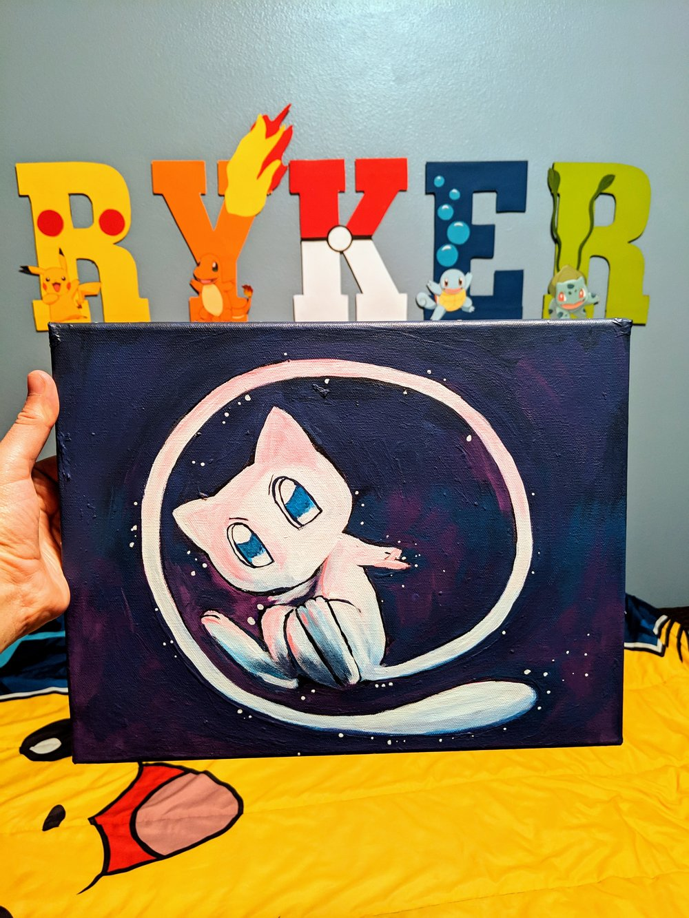 Mew painting in Ryker's Pokemon themed side of his room.