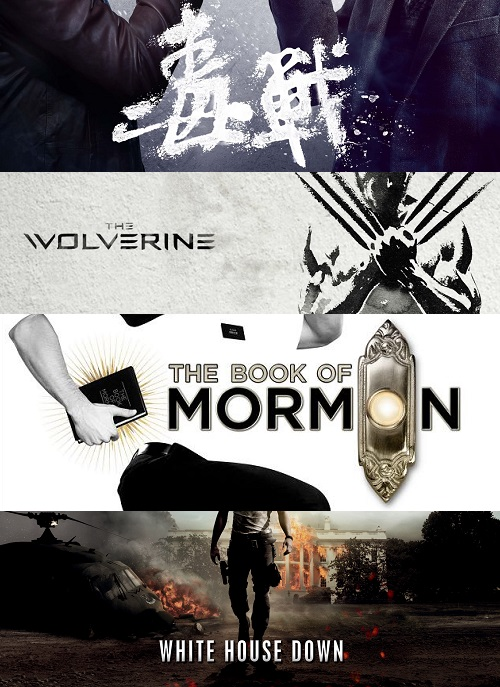Drug War, Wolverine, The Book of Mormon och White House Down pratar vi om i huvudsak.