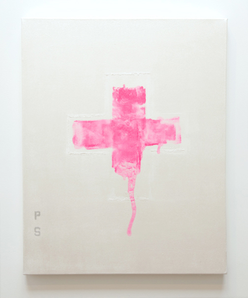 paul sunday, pink cross painting 20x24