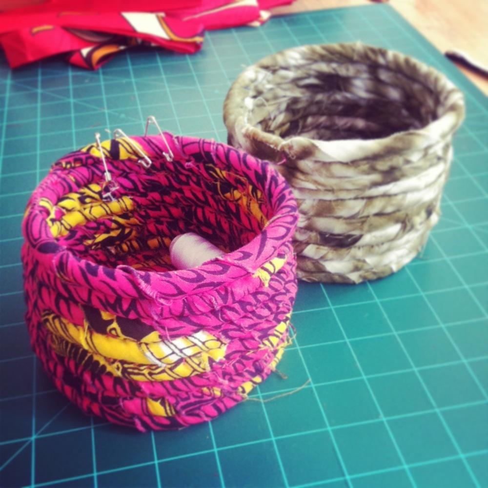 Fabric coil pots.