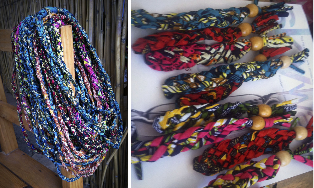 Necklaces & keychains....a couple of the new products made from African fabrics.