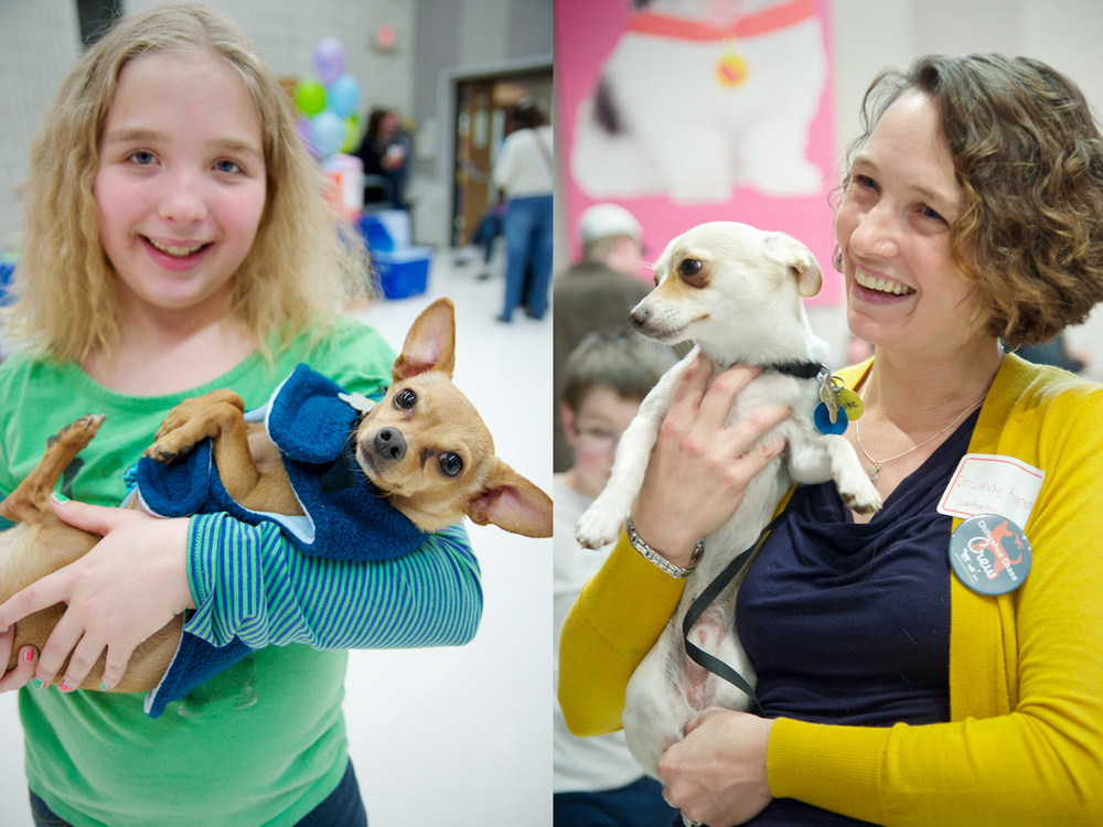 Dr. Cindy Karsten of CWOB (pictured on right)  welcomes Roberta, a Chihuahua she rescued.
