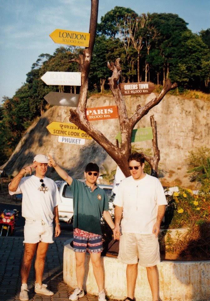 Phuket with fellow ECD's Steve Elrick and Rowen Chanen, 1996.