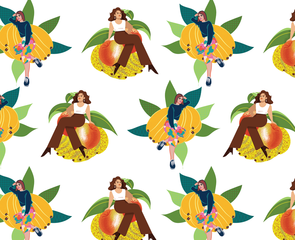 Marina and Kiki redesigned the iconic Batabasta bathroom wallpaper in Casa Bonay, drawing each other as pinups.