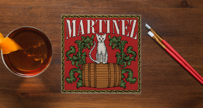 The Martinez (1880s) The Martinez is a great drink with Genever, but the Old Tom version is probably the more common, and Old Tom labels from this period do not lack for personality. They all feature a cat, often perched upon a barrel, and the more decorative among them add flourishes to the lettering. In this case, I've chosen a trifurcated style that works well with the floral plumage framing our feline friend.