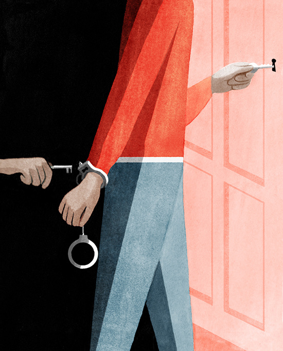 Illustration for the  New York Times on opening opportunities for people with criminal records.