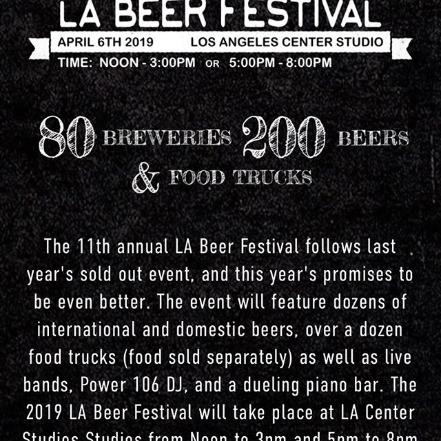 The brewery will be participating at each of these events over the weekend! All are wonderful and guaranteed to be memorable. So if you don't have plans, make sure to grab some tickets and pop by our booth for some free giveaways, awesome beer and knowledgeable brewers to talk to. #labeerfest #mastersoftastela #montrosebeerfest #sanfernandobrewingco