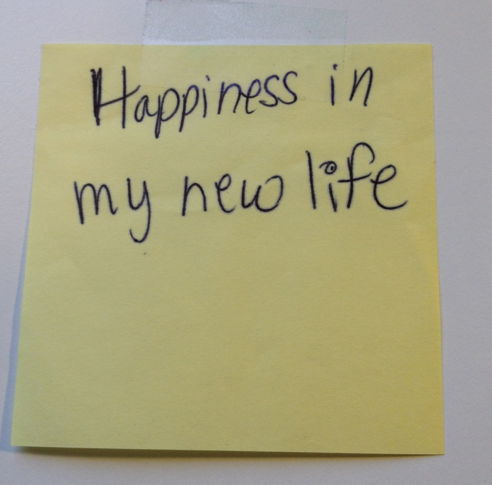 I still have the sticky note I plucked from the wall.  I don't know who it belongs to but I wish them all the happiness in the world.