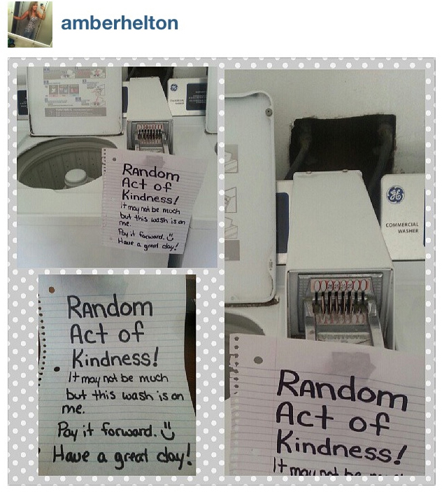 "Random act of kindness. Loved doing this. ""Kindness inspires kindness.' "" #raok"