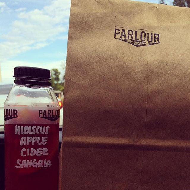 Afternoon made way better by an impromptu stop @parlourvegan. Can you guess what's in the bag???