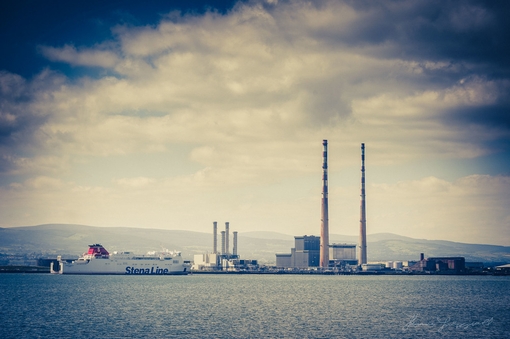 Ferry Approaches Dublin Port in front of the Power station | Nikon D700 , 28-300mm Lens