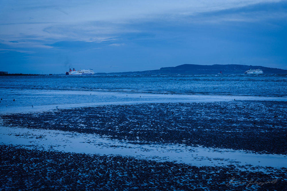 The ferry leaving dublin Port Before sunrise on the first day of 2018 in Dublin