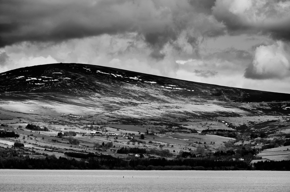 Sunlight on the hills in the wicklow mountains
